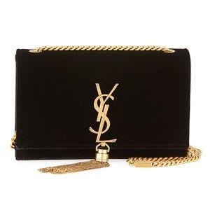 Saint Laurent Kate Monogram Velvet Tassel Bag